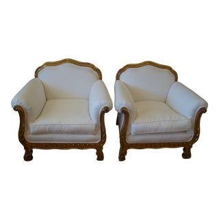Antique Italian Carved Giltwood Club Chairs - Pair