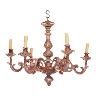 Mid 20th century Italian Wood Chandelier