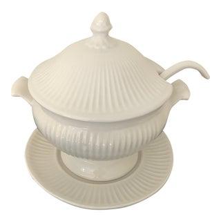 Ivory Ribbed Ceramic Soup Tureen