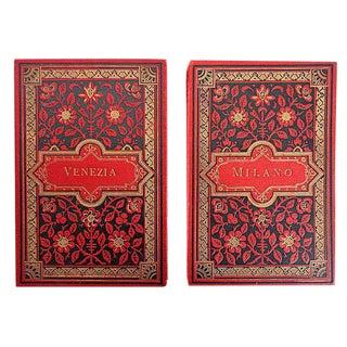 Vintage Italian Red Postcard Books - A Pair