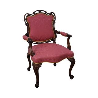 George III Style Solid Mahogany Carved Arm Chair
