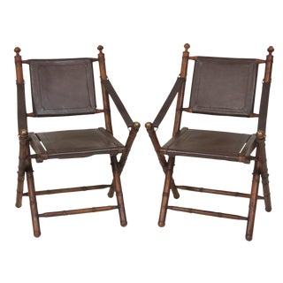 Faux Bamboo & Leather Folding Chairs - A Pair