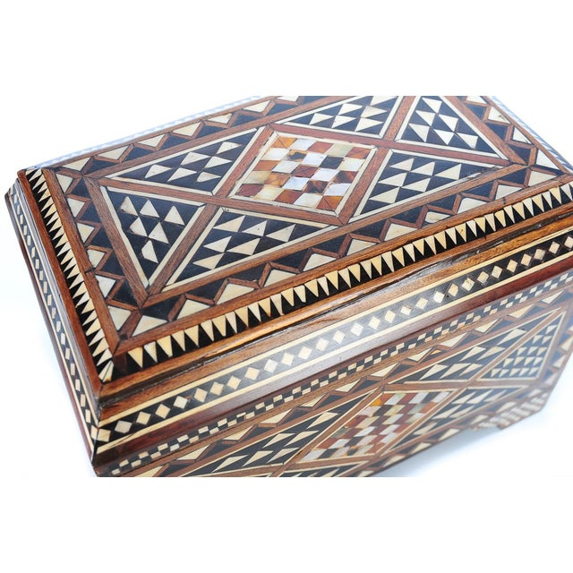 19th Century Syrian Inlaid Wooden Treasure Chest - Image 9 of 9