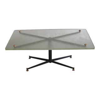 French 1950s Cocktail Table with Sand Cast Glass Top by Saint Gobain