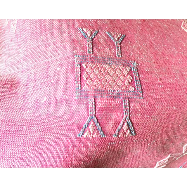 Pink Cactus Silk Moroccan Kilim Pillow Cover - Image 4 of 7