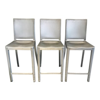 Emeco Brushed Aluminum Hudson Counter Stools - Set of 3