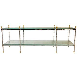 1970's Maison Jansen Style Chrome & Glass Two-Tier Console Table