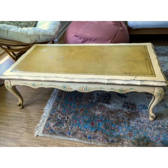 Yellow Painted Wood French Country Coffee Table - Image 2 of 3