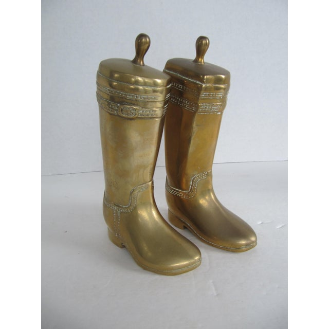 Vintage Brass Equestrian Boot Bookends - A Pair - Image 2 of 9