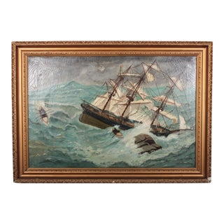 Folk Art Shipwreck Painting