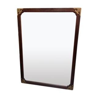 Henredon Walnut Campaign Mirror W/ Brass