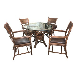 Bamboo & Leather Glass Top Dining Set - Set of 5