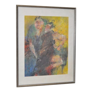 Asian Figural Abstract Pastel Painting