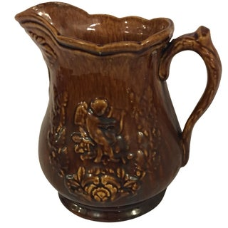 Antique Floral Design Glazed Pitcher