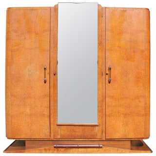 1940s Vintage French Art Deco Burl Amboyna Armoire