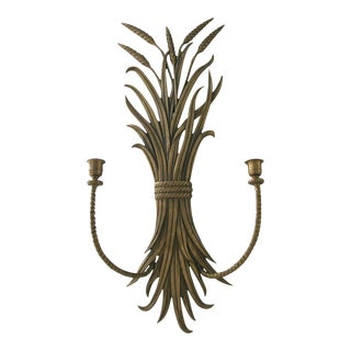 Brass Wheat Sheaf Wall Candle Sconce