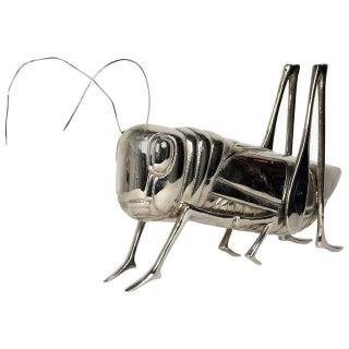 Mid Century Modern Nickel-Plated Grasshopper Sculpture