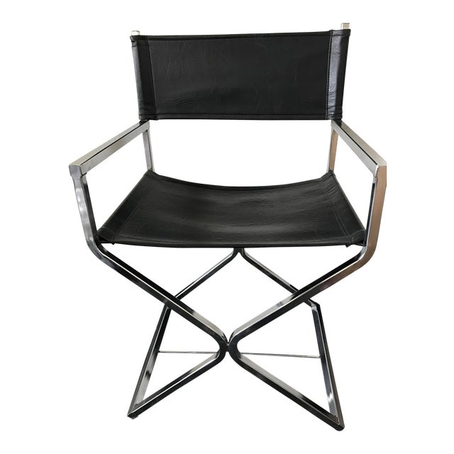 Vintage Mid-Century Modern Black Vinyl & Chrome Director Chair - Image 1 of 8