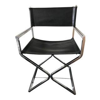 Vintage Mid-Century Modern Black Vinyl & Chrome Director Chair