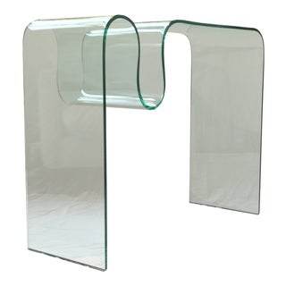 Solid Bent Glass Console Table