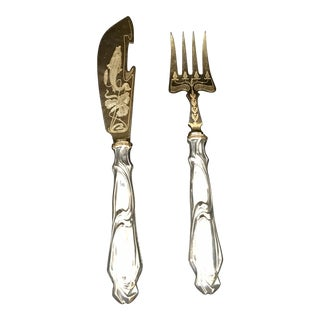 Art Nouveau Fish Serving Set - A Pair