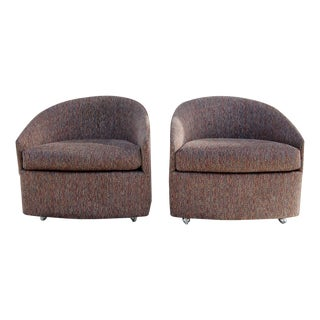 Milo Baughman-Style Barrel Club Chairs - A Pair