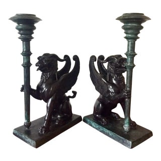Vintage Maitland Smith Bronze Verdigris Chinoiserie Pixiu Candlesticks - a Pair