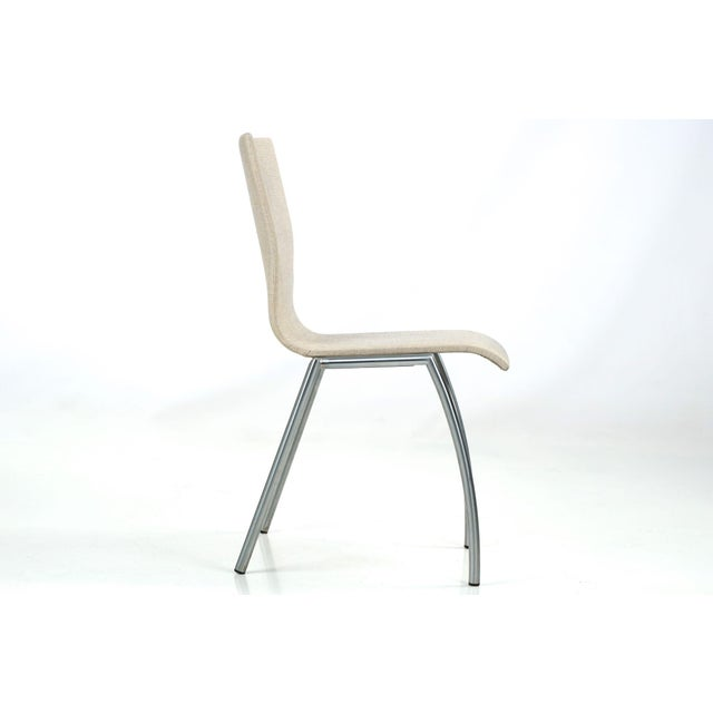Danish Modern Brushed Steel Side Chair by Kvist - Image 4 of 11