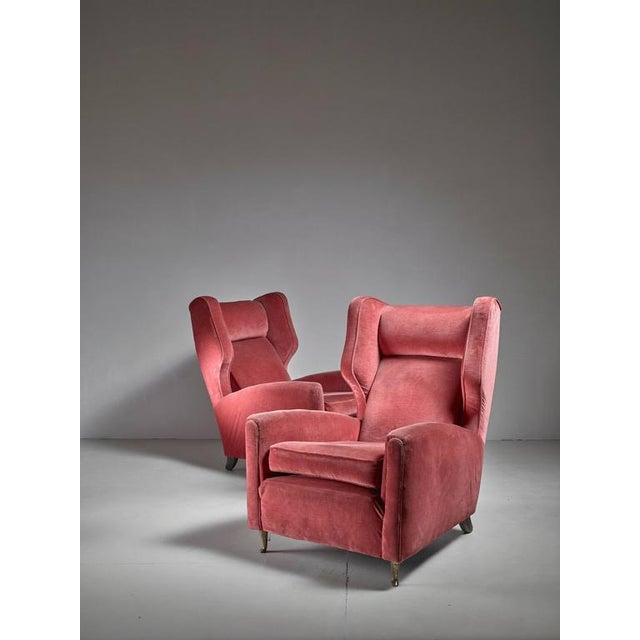 Paolo Buffa Pair of Soft Coral Red Wingback Lounge Chairs, Italy, 1940s - Image 3 of 6