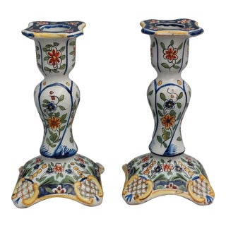 Antique French Faience Hand Painted Vases - A Pair