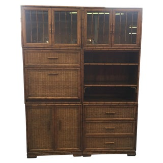 American of Martinsville Bamboo Secretary Cabinet