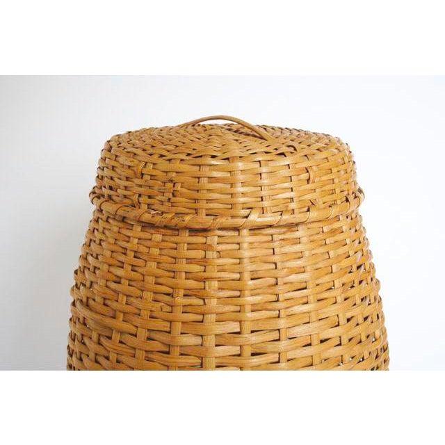 Vintage Rattan Standing Basket - Image 4 of 5