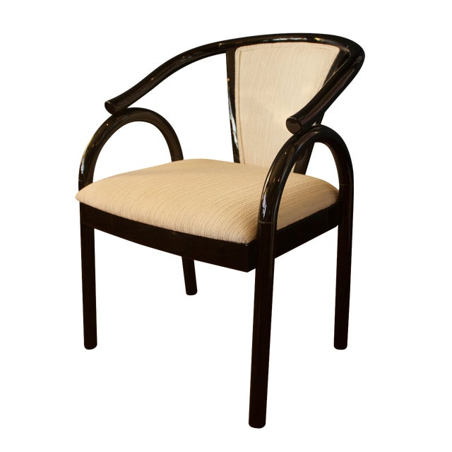 Chinoiserie Black Lacquer Armchair - Image 1 of 6