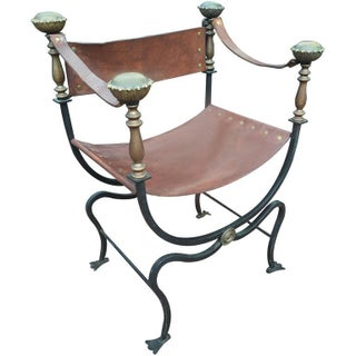 Iron and Brass Campaign Chair