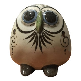 Mid-Century Modern Hand Painted Pottery Owl II