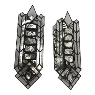 Vintage Art Deco Leaded Glass Mirrored Wall Sconces - A Pair