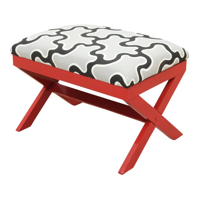 Cumulus Red Curule Bench - Image 1 of 7
