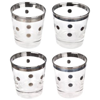 Vintage Mid-Century Silver Polka Dot Glasses - Set of 4