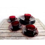 Image of Vintage Ruby Red Glass Tea Cups & Plates - 16 Pcs