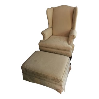Yellow Wingback Chair & Ottoman
