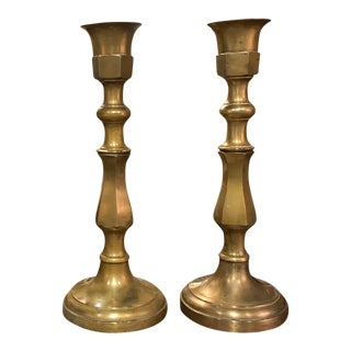 "Vintage 19"" H Brass Candlesticks - a Pair"