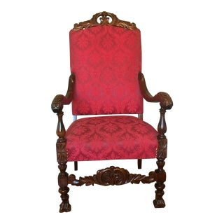 Walnut Carved Throne Chair With Damask Upholstery