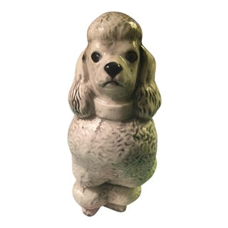 Antique Glazed Ceramic Poodle Figurine