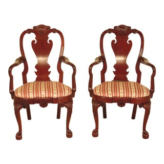 Kindel Clawfoot Winterthur Collection Arm Chairs - a Pair