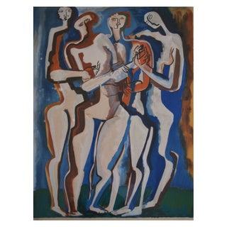 """Four Silhouettes"" Russian Avant Garde Lithograph"