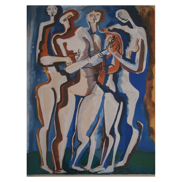 """Image of """"Four Silhouettes"""" Russian Avant Garde Lithograph"""