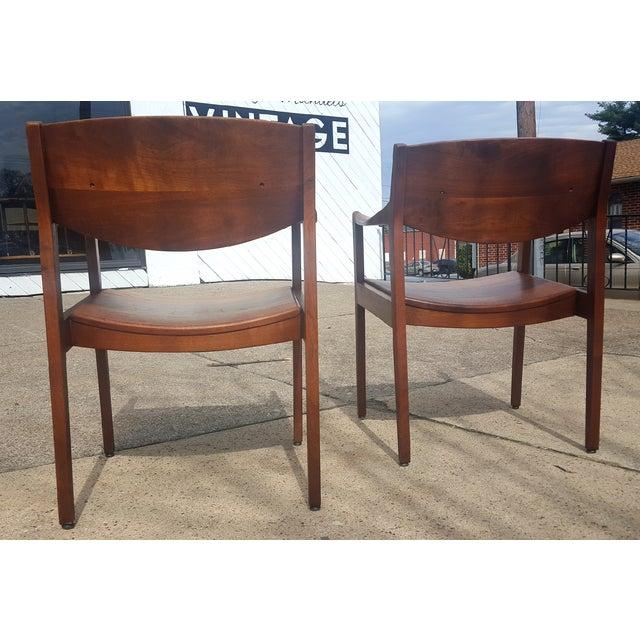 Mid-Century Walnut Gunlocke Chairs - Pair - Image 6 of 11