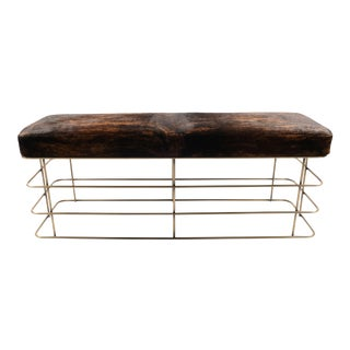 Brass Finish & Cowhide Bench