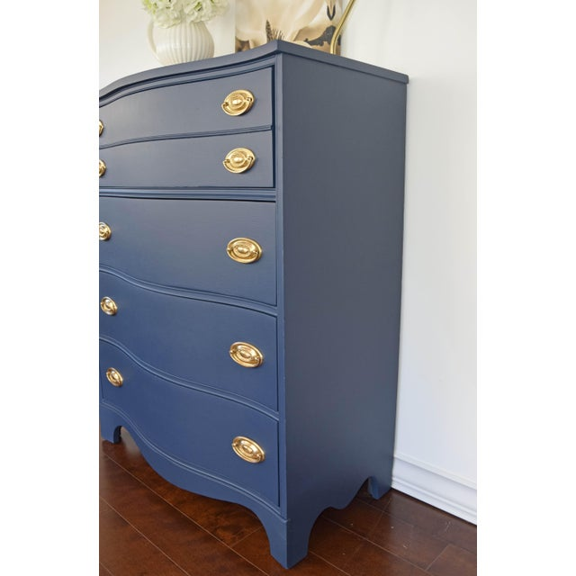 Bassett Serpentine Navy-Gold Highboy Dresser - Image 5 of 11