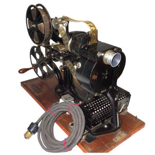 Pathe 28mm Hand Crank Movie Projector Sculpture Circa 1918. With One Reel and Can of original Circa 1912, 28Film.